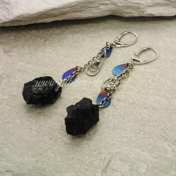 Kolczyki z węglem kamiennym